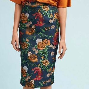 Anthropologie Isla Maude Jacquard Pencil Skirt